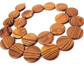 Wood Beads, Flat Round 25mm, Amber Brown Dyed 22 pces  (PB205B)