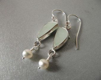 Aquamarine and Pearl Earrings in Sterling Silver