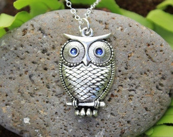 Wise Owl necklace - antiqued silver owl with blue crystal eyes - sterling silver chain - free shipping USA - September birthstone