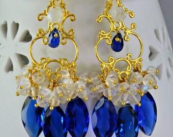 Blue Quartz Moonstone Chandelier Earrings 14k Goldfilled Gemstone Wire Wrapped Earrings