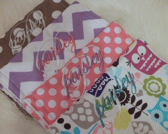 Baby Burp Cloth Girl Michael Miller Groovy/Riley Blake Jewel Grey Pink Burp Cloth Baby Burp Rag Personalized Monogram Burpies Boutique Style