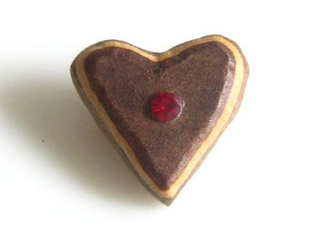 Vintage Handcrafted Carved Wood Rustic Little Heart Pin Brooch