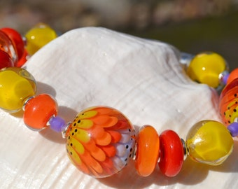 COLOR SPLASH-Handmade Lampwork and Sterling Silver Bracelet