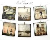 """Paris Postcards SET 02 - SIX 5,5""""x5,5"""" Fine Art Postcards - Tour Eiffel"""