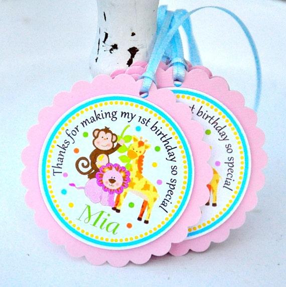Safari Hang Tags, Jungle Animals Gift Tags, Personalized Safari Labels, Safari Birthday Party - Set of 12