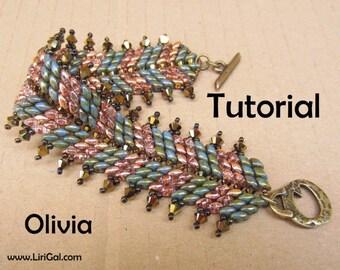 Olivia Superduo Twin   Beadwork Bracelet PDF Tutorial