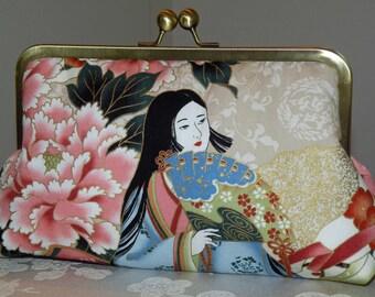 Kimono Lady Clutch/Purse/Bag..Chrysanthemum..Cherry Blossoms..Silk Lined..Bridal/Wedding Gift
