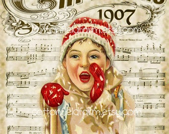Christmas 1907 Boy in Snow Digital Sheet C-504 Large 5 X 7  for Pillows, Aprons, Totes, Stockings, Decoupage, ECS,
