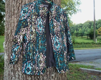 Jacket Ikat Jade Collar Blazer Zip Up Size Medium Jewel Turquoise Ivory On Black Upcycle by artdesignsbydanielle