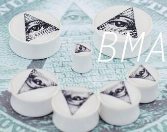 "11/16"" (18mm) All Seeing Eye BMA Plugs Pair"