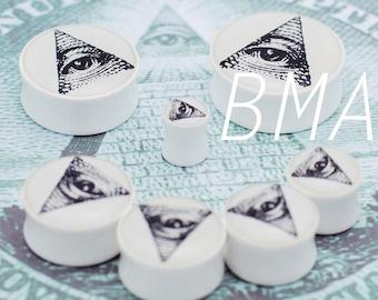 "9/16"" (14mm) All Seeing Eye BMA Plugs Pair"
