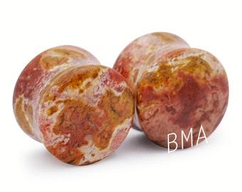 "9/16"" (14mm) Truffle Brown Jasper Stone Plugs #1187"