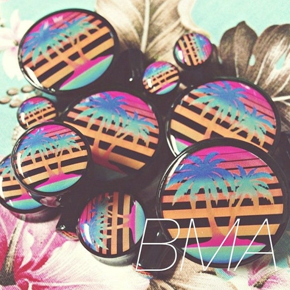 "7/16"" (11mm) Neon Palm Trees BMA Plugs Pair"