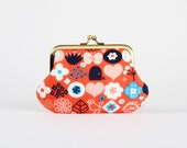 Metal frame coin purse - Ecototo Happy Flower in red - Daddy purse / turquoise navy blue poppy red / white flowers / pocket garden