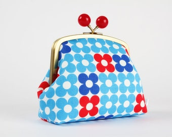 Clutch purse with metal frame - Red and cobalt retro flowers on blue - Color bobble purse / Modern floral geometric / Minimalist ruby dots