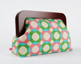 Wooden frame clutch bag - Rings in turquoise green and pink - Trip purse / Linen blend japanese fabric / geometric circles / spring hues
