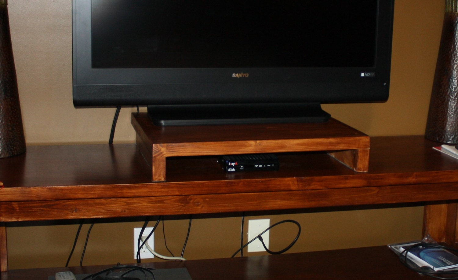 Wood tv stand television riser flat screen dvr