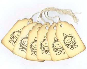 Halloween Tags - Cute Little Witch Hand Stamped Large Scallop Die Cut Hang Tags (Set of 6) Favor Tags