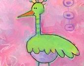 Egbert -- cute bird art for girls nursery -- 6x6 original acrylic painting on canvas