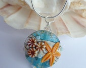 Beach Delight - Gorgeous handmade  lampwork glass and silver beach bead pendant with chain