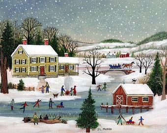 Skating by the Yellow House - Limited Edition Print _ by J.L. Munro