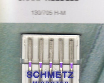 Schmetz Microtex, Sharp sewing machine needles size 60/8,  pack of 5