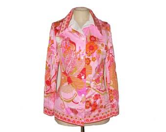 Vintage Pink Blouse - 1960s Mod Deadstock Shirt - Retro Fall Fashion - Don Manuel of Miami