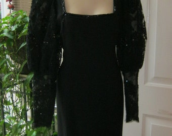 Vintage 70s black evening gown,  elaborate black mesh lace sequin sleeves, black mesh lace evening gown, dramatic black gown size 8 or 10