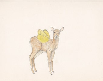 A deer with wings - postcard