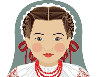 Croatian Wall Art Print features cultural traditional dress drawn in a Russian matryoshka nesting doll shape