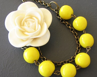 Bib Necklace Flower Necklace Bridesmaid Jewelry Yellow Necklace Statement Necklace Beaded Jewelry