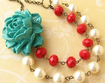 Multi Strand Necklace Statement Necklace Flower Necklace Teal Necklace Red Jewelry Woman Gift