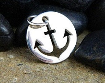 Silver Anchor Charm Tag Cut Out Disc 925 Sterling Silver  Length 15.3mm  Width 12.2mm  Height 1mm