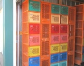 Reserved for Jeff...Vintage Killer Heavy Industrial Steel Colorful Locker with 25 Compartments NO.1