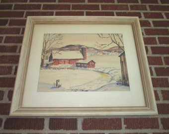 Vintage Mid Century Signed Dated 1960 Original Watercolor Painting of Peaceful Winter Rural Farm Scene