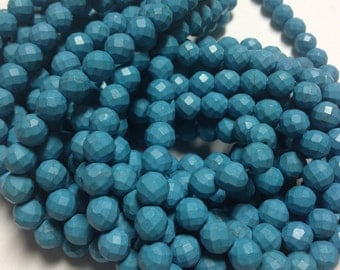 """Blue Turquoise Faceted 10mm - full 16"""" strand"""