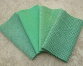 "Hand Dyed Wool Felt,  JADE,  Four 6.5"" x 16"" pieces in Soft Sea Green"