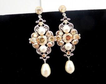 Pearl bridal earrings, vintage style earrings, Swarovski crystal earrings, chandelier earrings, antique silver earrings