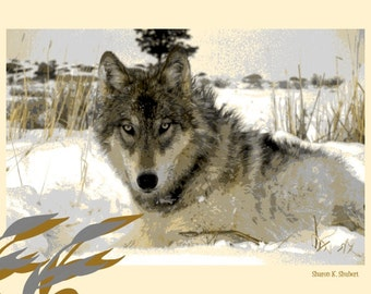 Wolf Art, Southwestern Wolves, Native American Totem Animal, Gray Tan, Winter Home Decor, Cabin Wall Hanging, Digital Giclee Print, 8 x 10