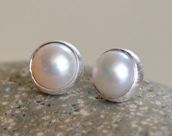 SALE. White Pearl Silver Posts.  Fresh Water Pearl Cabochon Sterling Silver Studs. Gemstone Posts. Wedding Jewelry. Fine Jewelry