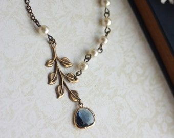 Antiqued Brass Greek Leaf, Gold Plated Montana Blue Glass Drop, Ivory Pearl Necklace. Bridesmaid Jewelry. Bridesmaid Gift. Blue Wedding.
