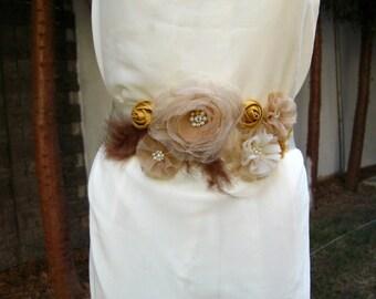 Bridal Sash, Wedding  Dress Sash Belt, Shades of Cream Organza  Flowers, Feathers - OOAK