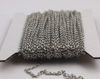 Rhodium Plated Chain bulk Chain, 100 ft of Antiqued Silver Round Soldered Chain Cable Chain - 2x2.5mm SOLDERED link - Necklace Wholesale