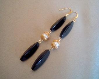 Geisha -- Black Onyx and Freshwater Pearl Long Statement Earrings