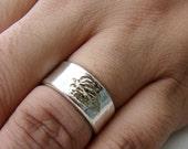 Wide Wedding Ring. Simple Sterling Silver Wedding Ring. Leaf Ring for Mountain Wedding. Rustic Wedding Ring. Birch Bark Ring. Twig Ring