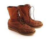 Red Wing Boots 1960s Distressed Brown Lace Up Leather Irish Setter men's size 8 Made in Usa