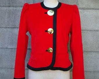 Saint Laurent Jacket Blazer Vintage 1980s Red Corduroy and Black Yves Size 38
