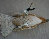 Gold Velvet Taxidermy Bird Soft Sculpture