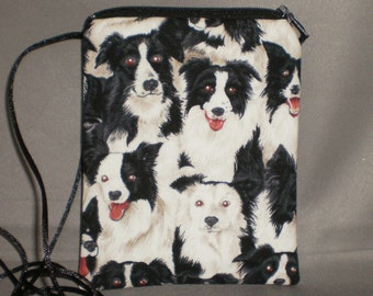 Border Collie - Wallet on a String - Sling Bag - Small Mini Bag Purse - Zipper Pouch - Dogs