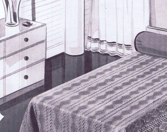 Vintage Crochet PATTERN for Bedspread 6031 Trailing Vine 70 x 107 Twin 91 x 107 Full 1940s design PDF instant Download